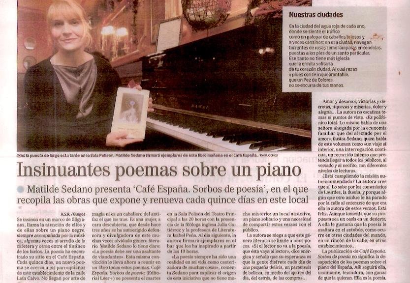 Diario de Burgos, 2012. Insinuantes poemas sobre un piano.