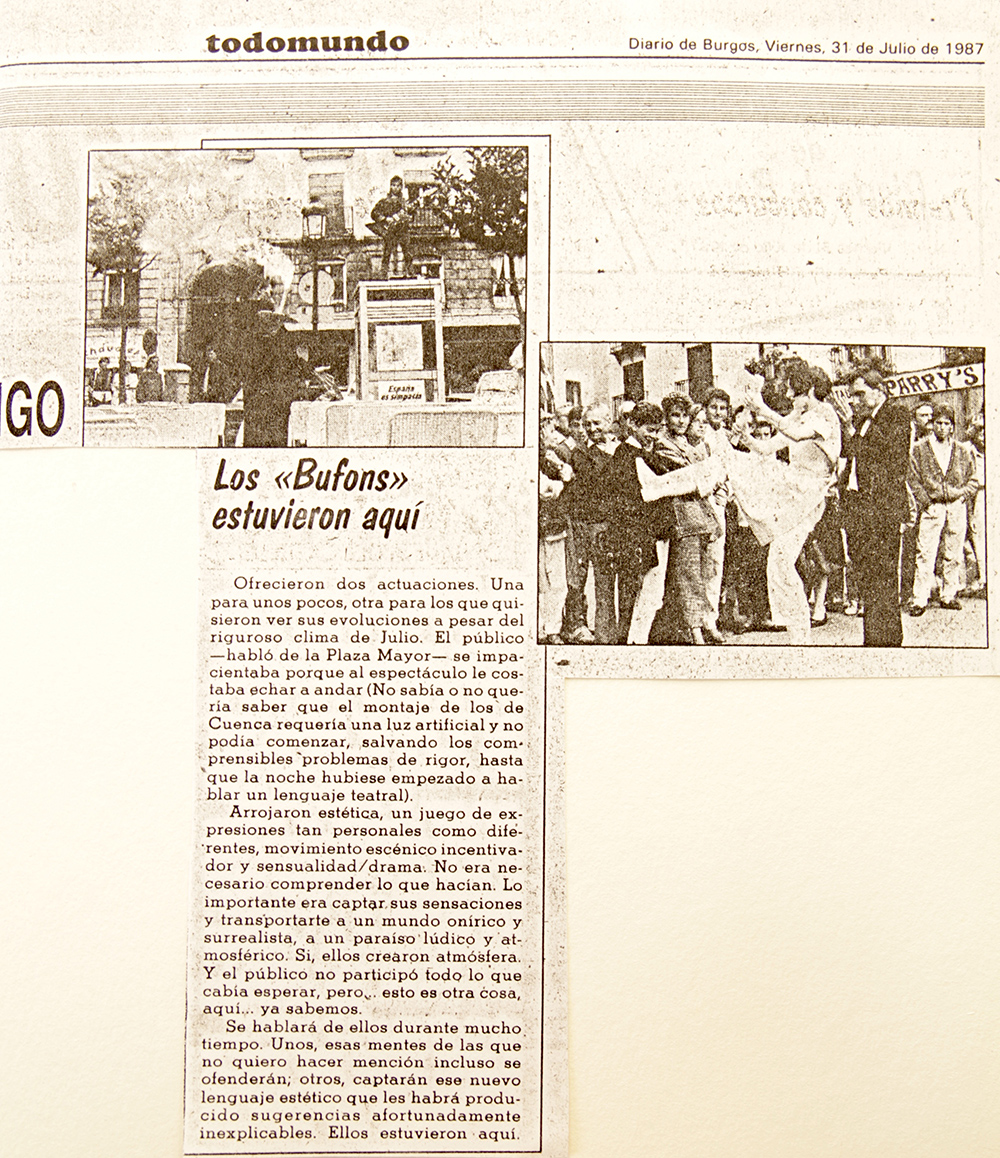 Diario de Burgos, 1987. Los Bufons estuvieron aquí.