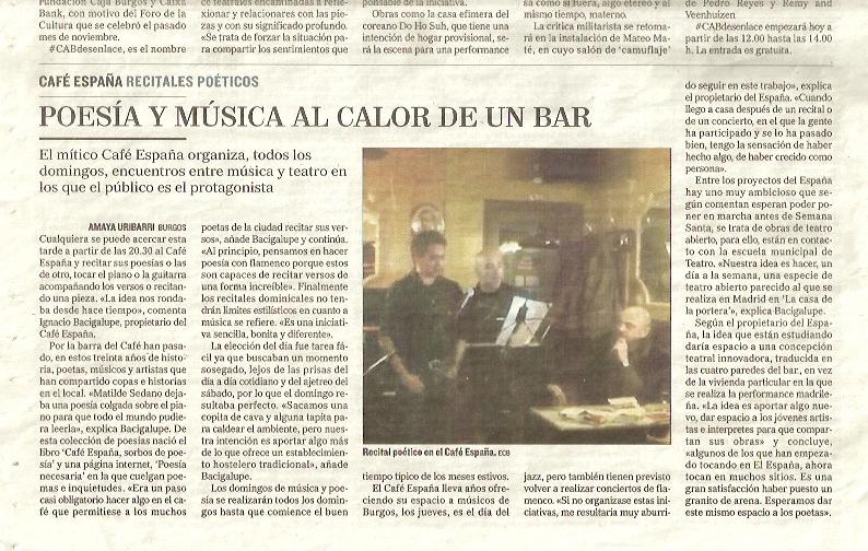 El Correo de Burgos, 2015. Poesía y Música al calor de un bar.