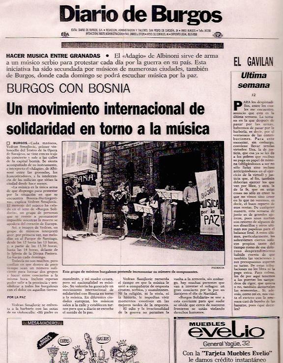 Diario de Burgos. Un movimiento internacional de solidaridad en torno a la música.